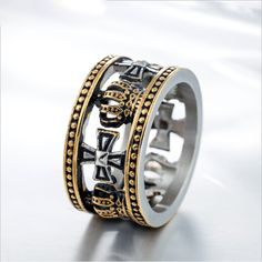 Inel barbatesc retro in forma de coroana cu cruci, din titan Mens Crosses, Vintage Type, Ring Finger, Black Rings, Titanic, Diamond Rings, Rings For Men, Stainless Steel, Retro