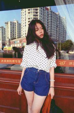 Street style: Printed blouse   Denim shorts - white wrap blouse, black silk blouse, ladies shirt blouse *ad