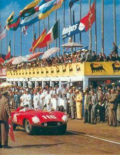 1955 Targa Florio : Eugenio Castellotti, Ferrari 857S #116 (#0850M), Scuderia Ferrari, 3rd (w/Manzon). (ph: pinterest.com)