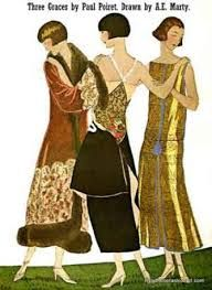 Paul Poiret The Three Graces in the designs are dated 1924 and are part of a wider image. They are wearing stunning clothes an Evening Wrap and smart gowns complete with bobbed hair styles. Fashion Prints, Fashion Art, New Fashion, Fashion Show, Vintage Fashion, Ladies Fashion, Paul Poiret, 1920s Glamour, Tea Gown