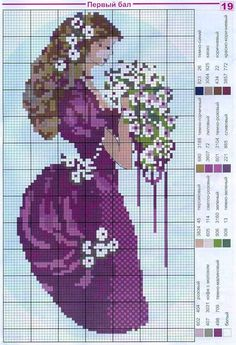 Victorian lady cross stitch