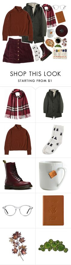 """""""Fall 2k16"""" by xeptum ❤ liked on Polyvore featuring Burberry, Monki, Dr. Martens, le mouton noir & co., GlassesUSA, Royce Leather, C. Jeré and Moe's Home Collection"""
