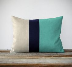 Mint Colorblock Decorative Pillow with Navy and Natural Linen Stripes by JillianReneDecor Modern Home Decor Color-block Aqua Turquoise
