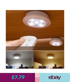 Lightmates wireless led puck lights rp 005 yo9rp 005 2 remotes 10 wall lights wireless kitchen counter led under cabinet closets lighting puck dimmable light ebay aloadofball Gallery