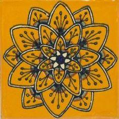 $2.25 4x4 Yellow Peacock - Talavera Mexican Tile
