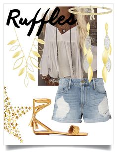 """""""Summer Of Gold"""" by dutyfreecrystal ❤ liked on Polyvore featuring Frame, duty free, Aquazzura, Summer and swarovski"""