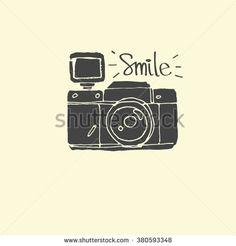 Photo Camera - hand-drawn doodles  vector - vector illustration - stock vector
