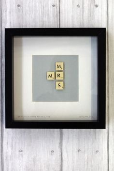 I could DIY this as a wedding/anniversary gift Brigitte Herrod - Scrabble MR & MRS Picture Scrabble Crafts, Scrabble Art, Scrabble Letters, Scrabble Tiles, Scrabble Wedding, Wooden Letters, Craft Gifts, Diy Gifts, Craft Projects
