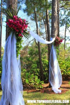 ideas to make your own wedding arch | Natural Azalea Wedding Arch Using Pine Trees | Unique Floral ... by guadalupe
