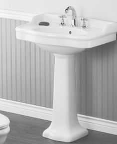 Check out the Cheviot Antique Pedestal Lavatory in Bathroom Sinks & Washstands, Faucets & Fixtures from Quality Bath for . Pedastal Sink Bathroom, Lavatory Sink, Downstairs Bathroom, Attic Bathroom, Washroom, Bathroom Wall, Bathroom Interior, Master Bathroom, Grey Laundry Rooms