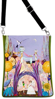 Short description Based on a painting by Pre-Raphaelite artist Harry Clarke, this is a magical image. These large shoulder bags are beautifully-made and spectacular enough to work really well for both