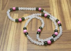 Moldavite, Rhodochrosite, Frosted Quartz 6-8mm - Therapeutic Gemstone Necklace #Handmade #StrandString