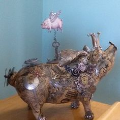 Mixed Media Art, Mix Media, Pig Art, Flying Pig, Steampunk Fashion, Polymer Clay Jewelry, Piggy Bank, Altered Art, 3 D