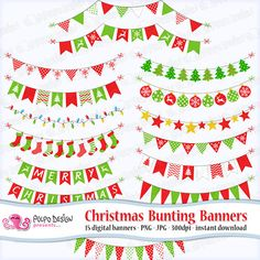 Christmas bunting banners clipart. Digital clip di PolpoDesign