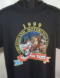 Toys For Tots Chicago Motorcycle Parade 1999 Mens Size Large T Shirt 50/50 #Hanes #GraphicTee
