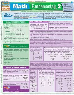 Math Fundamentals 2. 4-page guide includes: real number system, basic algebra terms, exponents, patterns & sequences, coordinate plane & slope, operations with algebraic fractions, quadratic equations, systems of linear equations, and much more.