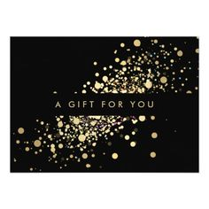 Faux Gold Confetti on Black Gift Certificate Card-The perfect gift certificate for your salon or spa! Great for estheticians, massage therapist, lash technician nail technician , or anyone in the service industry. Gift Certificate Template, Certificate Design, Gift Certificates, Gift Voucher Design, Cadeau Design, Bussiness Card, Customizable Gifts, Gold Confetti, Gift Vouchers