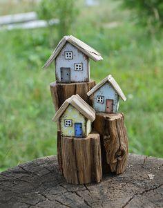 Wooden Decor New Home Gift Little Wooden House Driftwood Art