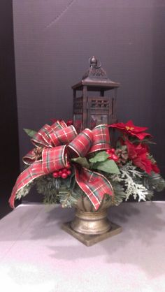 Christmas lantern design with plaid bpw...Robin Evans
