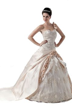 FairOnly Champagne One Shoulder Wedding Dress Bridal Gown Size:6 8 10 12 14 16