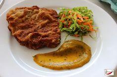 Gourmetizando: BIFE À MILANESA COM CREME DE ABÓBORA E SALADA VERDE