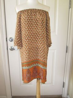 NWOT TOLANI OFF SHOULDER BOHEMIAN SILK TUNIC/ DRESS, SIZE MEDIUM #TOLANI #Tunic #Casual #ebay #sale