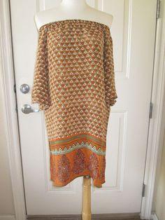 NWOT TOLANI OFF SHOULDER BOHEMIAN SILK TUNIC/ DRESS, SIZE MEDIUM #TOLANI #Tunic #Casual #ebay #sale