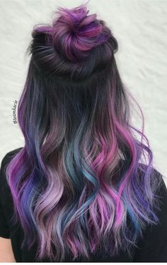38 stunning hair color trends for girls 00018 Beautiful Hair Color, Cool Hair Color, Purple Hair, Ombre Hair, Hair Color Underneath, Unicorn Hair Color, Underlights Hair, Hair Dye Colors, Dream Hair