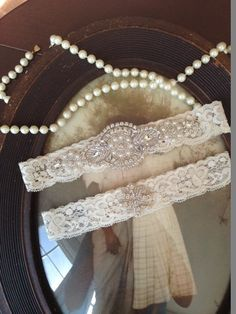 Diamond Fashion: SALE-Wedding Garter - Ivory Lace Garter Set - Rhinestone Garter - Applique Garter - Vintage - Bridal Garter - Vintage Garter - Toss Garter
