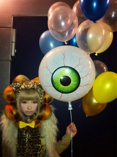 Kyary Pamyu Pamyu eyeball, eyes, balloons, monster, animal print, hair