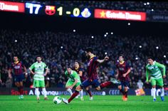 Cesc Fabregas of FC Barcelona scores his team's second goal from the penalty spot during the Copa del Rey round of 16 first leg match between FC Barcelona and Getafe CF at Camp Nou on January 8, 2014 in Barcelona, Catalonia.