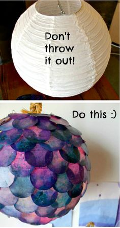Turn a boring paper lantern into a fish-scaled fixture.
