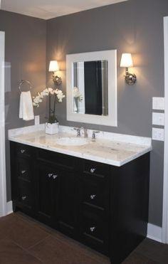 bathroom espresso cabinet grey wall white trim