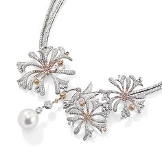 High End Jewellers - Luxury Jewellery | Boodles - Honeysuckle - Pink and White Diamonds set in platinum and rose gold with a pearl drop