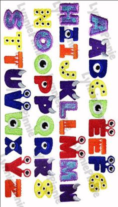 Embroidery Designs - Little Monster Alphabet Embroidery Font - 3 sizes - Welcome to Lynnie Pinnie.com! Instant download and free applique machine embroidery designs in PES, HUS, JEF, DST, EXP, VIP, XXX AND ART formats.