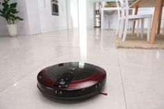 LG's Hom-Bot Circular #robotic #vacuum, which uses cameras and sensors to help avoid collisions.
