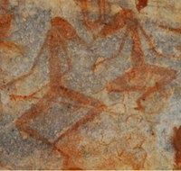 Bradshaw Elegant Action Figures shown cross-legged at camp. Kimberley, Western Australia. about 15,500 BCE