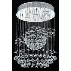 4 light polished chrome Contemporary galaxy Crystal Chandelier