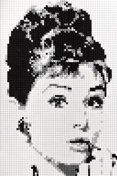 Audrey Hepburn Lego mosaic by OxfordBrickArt on Etsy