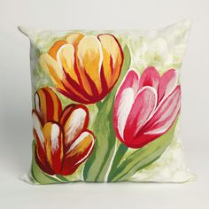 Nourish your sense of style with this Liora Manne Visions III Tulips indoor and outdoor throw pillow. Outdoor Throw Pillows, Accent Pillows, Outdoor Cushions, Indoor Flowers, Spring Sign, Pillow Set, Pillow Fight, Pillows, Embroidery