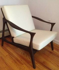 Mid century Lounge chair walnut and white leather