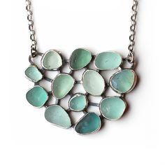 Moonflygirl - Sea Glass Mosaic Pendant by Tania Covo