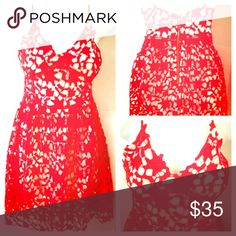 Super Sexy Red Crochet Dress A line Red Crochet knit dress with attached flesh color slip. Adjustable spaghetti straps and sewed in bra cups. Gold tone zipper. Never worn! Dresses Midi