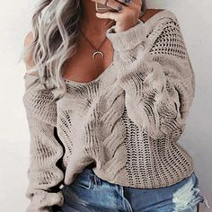 Winter Deep V-Neck Twist Knitted Sweaters Women Long Sleeve Off Shoulder Sweater Femme Autumn Outwear Sweater Khaki XXXL Off Shoulder Sweater, Polyester Material, Collar Designs, Loose Sweater, Knit Fashion, Sweater Fashion, Cardigans For Women, Jumpers, Models