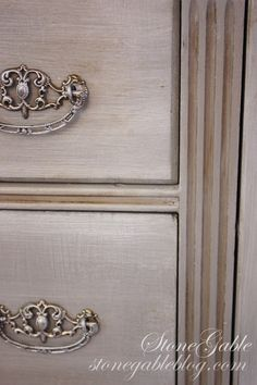 **frame** PARIS GREY with CLEAR and DARK WAX      ----------  **drawers**  PARIS GREY with PURE WHITE wash ---------- **handles** SILVER GILDING WAX