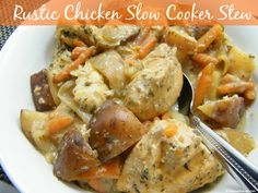 Rustic Chicken Slow Cooker Stew - 1 of 7 meals in 1 hour!  A great crock pot freezer meal #slowcookerchicken #freezermeals #7mealsin1hour