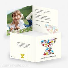 Kommunionskarte Kelch 14.5 x 14.5 cm - Dankeskarte.com First Communion, Worship Service, Thanks Card, Cards