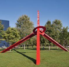 Molécula. 1977-1983. Aço pintado. Mark di Suvero (Xangai, China, 18/09/1933, - ). Encontra-se no Parque Medalha de Ouro em  Minneapolis, Minnesota, USA.  Fotografia: Ron Cogswell no Flickr.