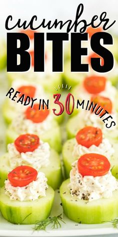These quick and easy cucumber bites are the perfect fresh appetizer. Bite-sized and simple to make, these mini, individual are fantastic and healthy. Crunchy cucumbers are filled with a savory, creamy cheese mix then topped with bright grape tomatoes and sprinkled with pepper. They're the perfect addition to any party menu.