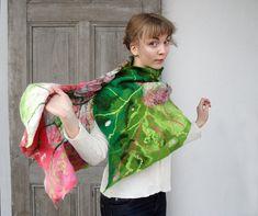 Nuno felted ruffle scarf like leaf woman winter by filcAlki